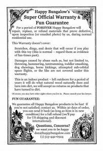wooden toy warranty by Happy Bungalow