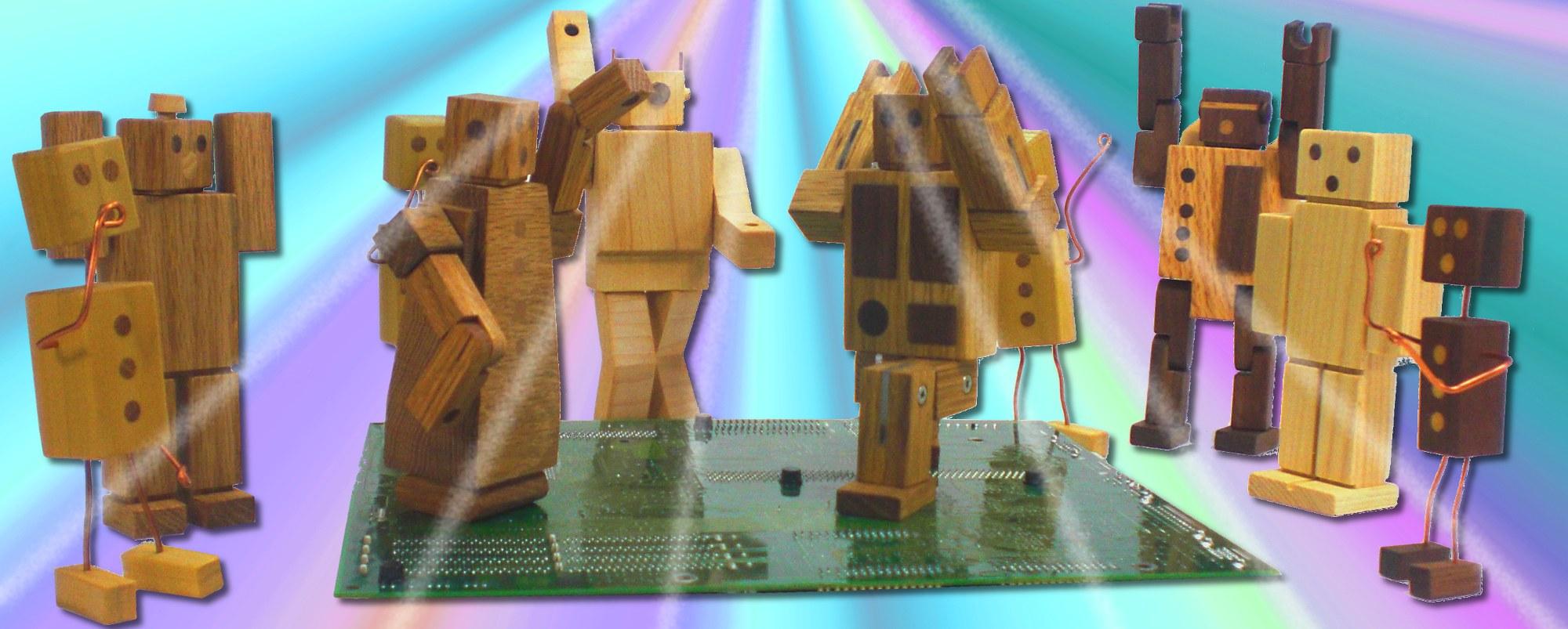 wooden robot toys dancing