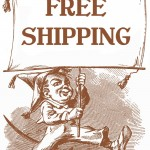 old timey illustration of boy holding banner that says free shipping