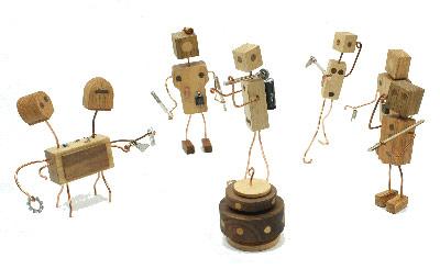 wood toy robots