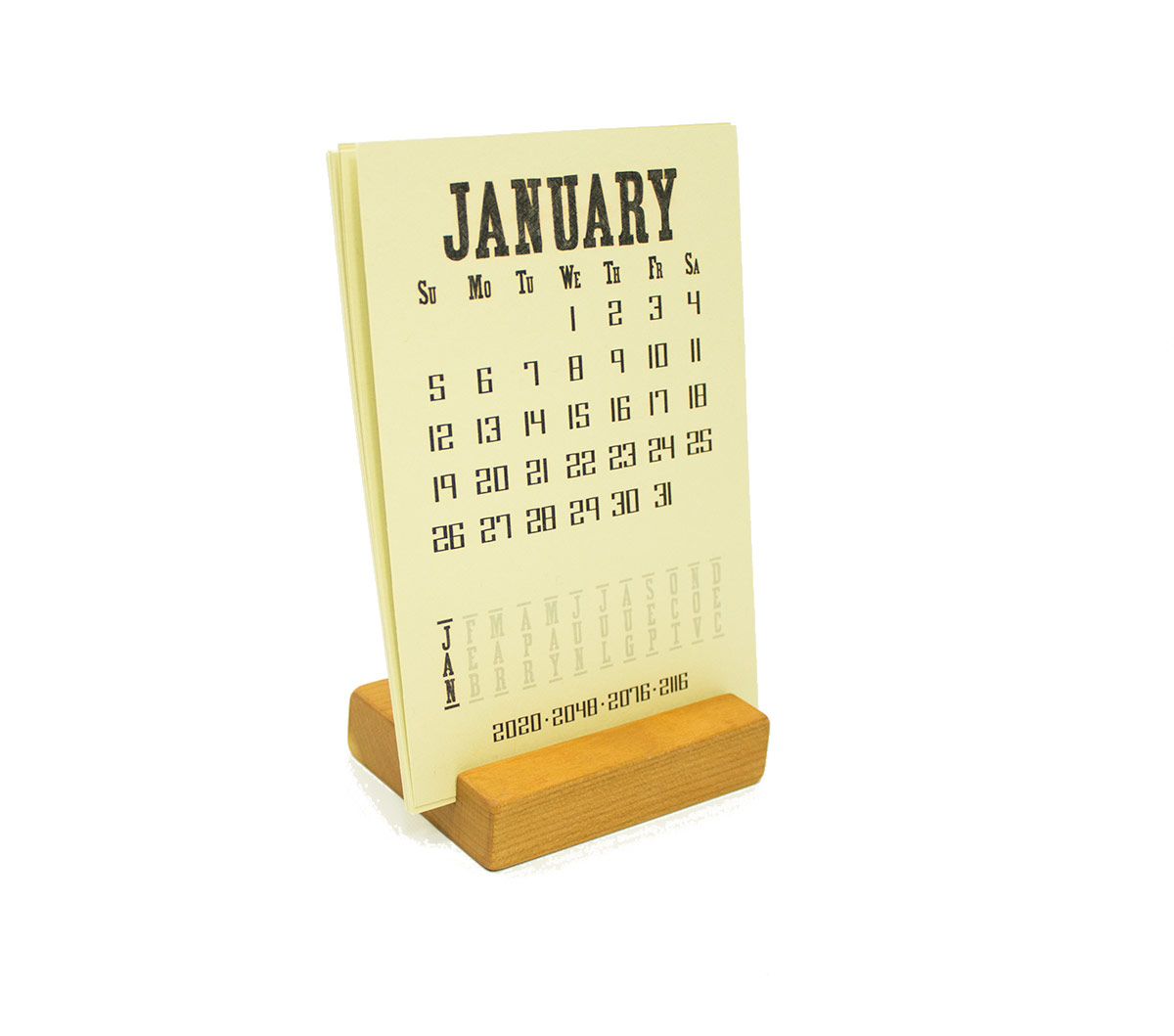 2020 Cherry Wood Desk Calendar Stand