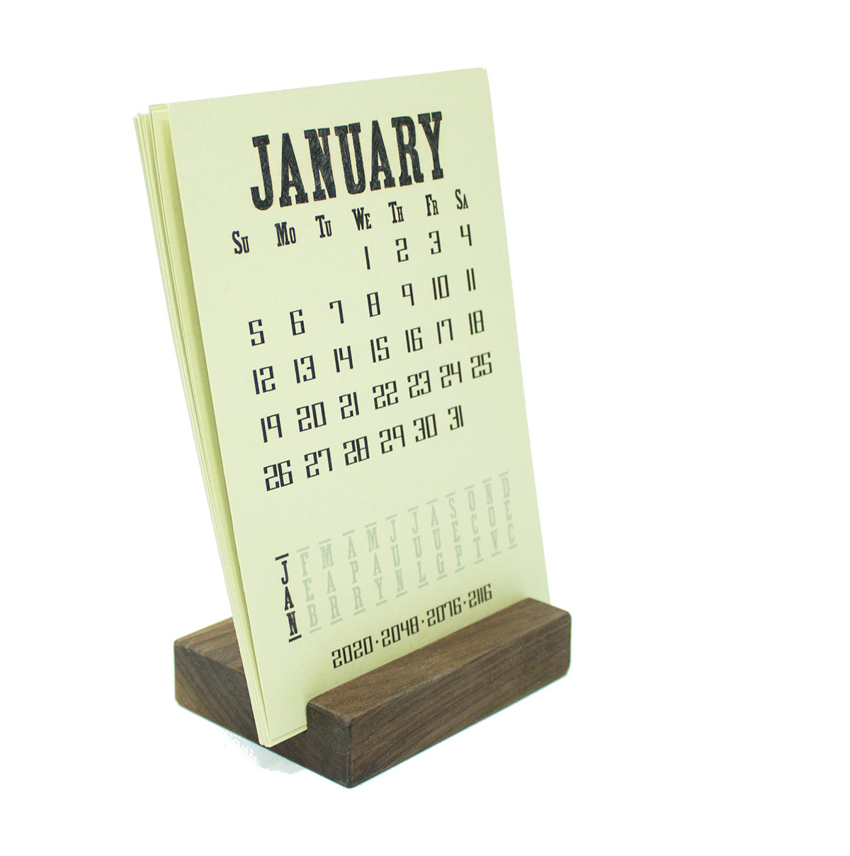 2021 Walnut Wood Block Desk Calendar Stand