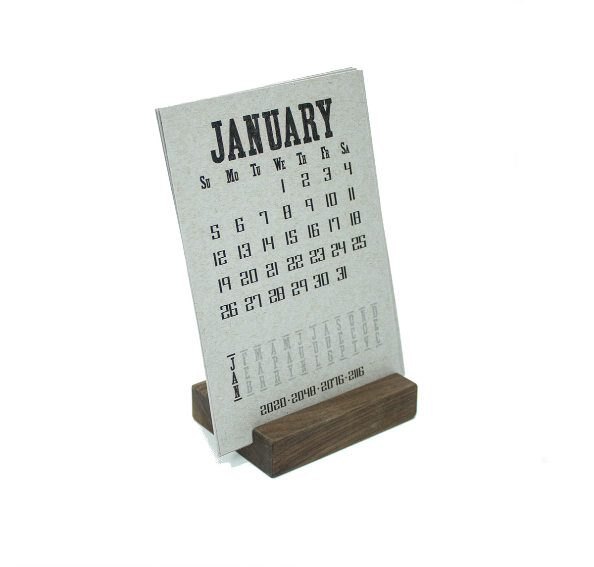 2020 Walnut Wood Block Desk Calendar Stand
