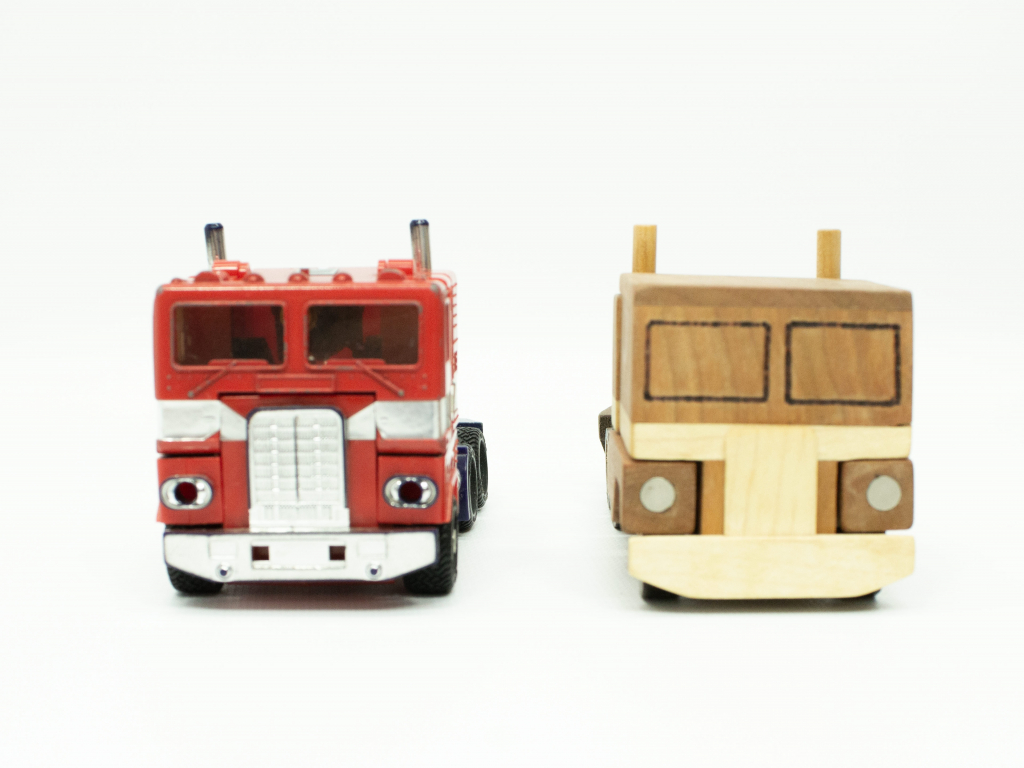 wood toy Optimus Prime made by Don Clark and Happy Bungalow