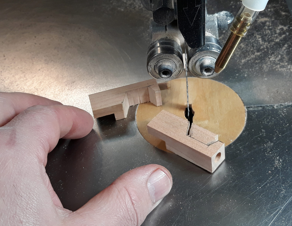 Cutting small pieces of wood on the bandsaw